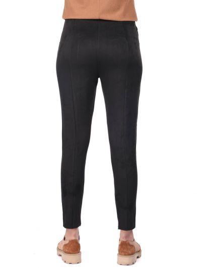 High Waist Black Velvet Trousers - Thumbnail