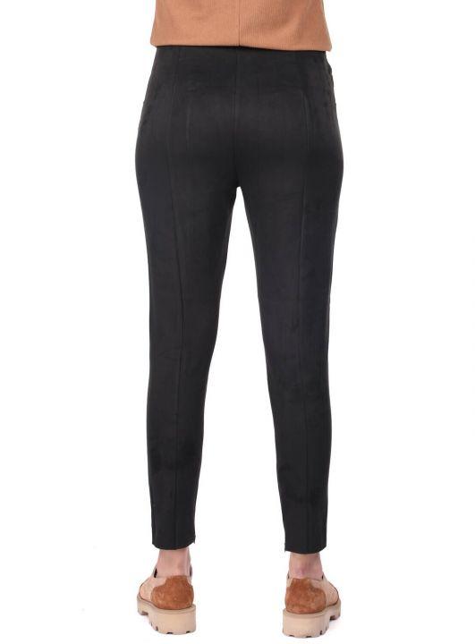 High Waist Black Velvet Trousers