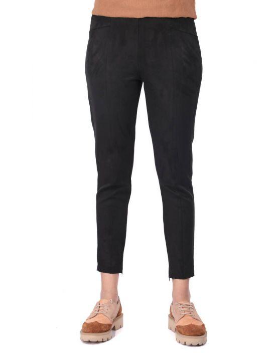 Черные бархатные брюки с высокой талией