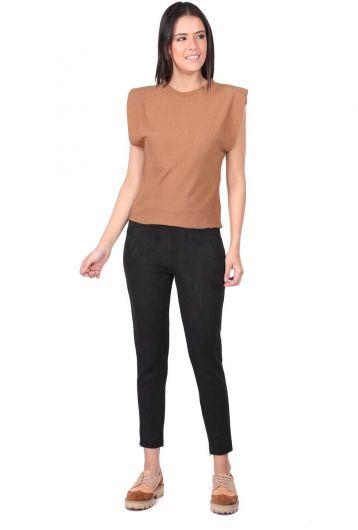 Черные бархатные брюки с высокой талией - Thumbnail