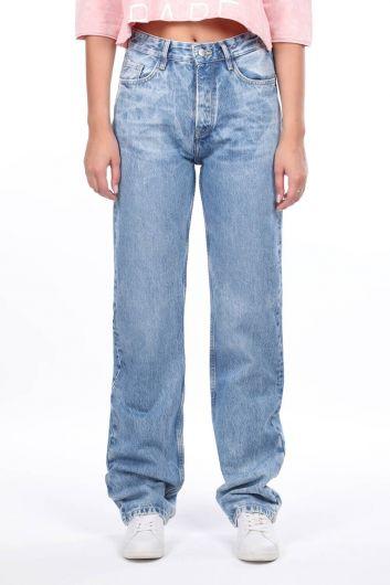 بنطال جينز بخصر مرتفع وواسع - Thumbnail