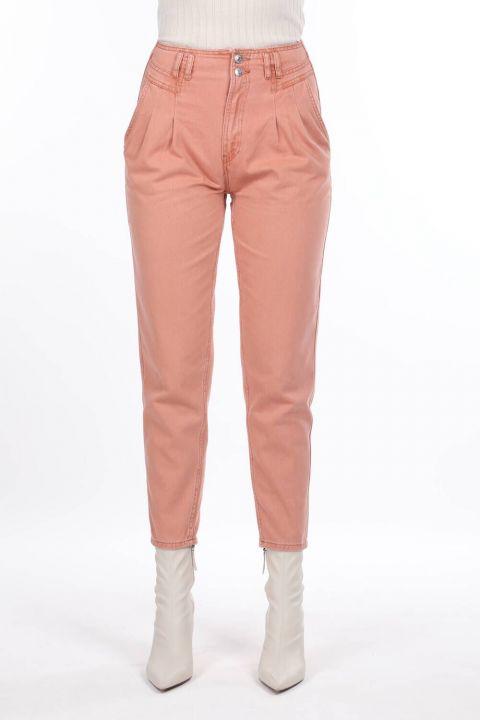 High Waist Pleated Jeans