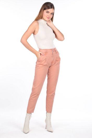 High Waist Pleated Jeans - Thumbnail