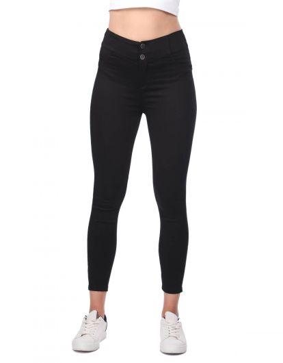 High Waist Skinny Black Jeans - Thumbnail