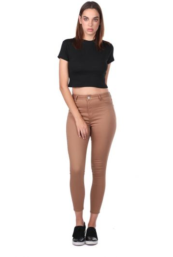 High Waist Skinny Brown Jean Trousers - Thumbnail