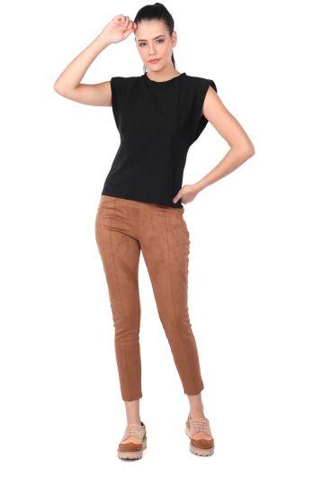 High Waist Velvet Trousers - Thumbnail