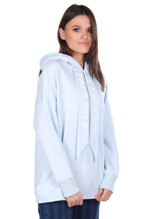 Blue Hooded Basic Women's Sweatshirt