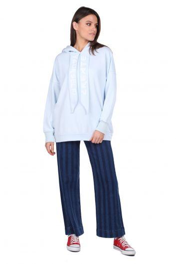 Blue Hooded Basic Women's Sweatshirt - Thumbnail