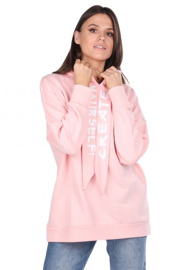 Basic Pink Women's Sweatshirt With Hood - Thumbnail