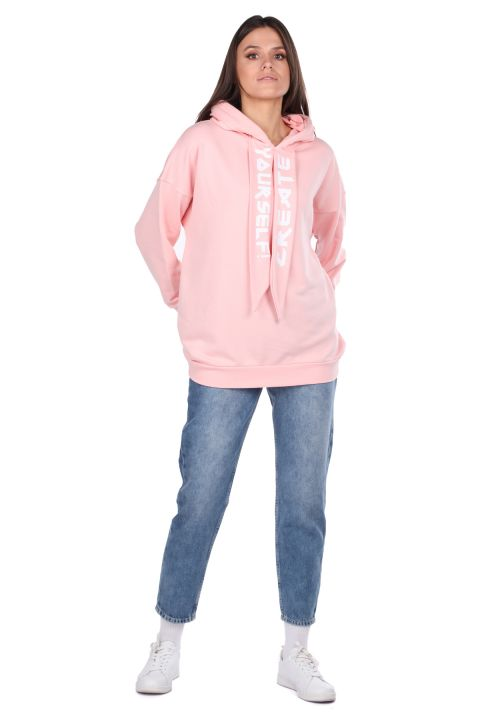 Basic Pink Women's Sweatshirt With Hood