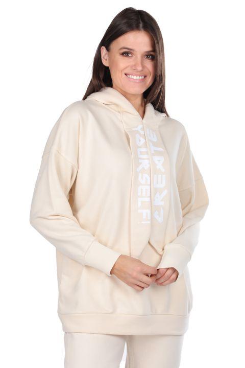Женская толстовка с капюшоном Basic Ecru с капюшоном