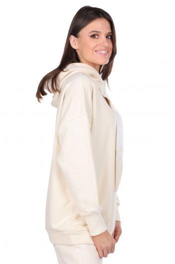 MARKAPIA WOMAN - Женская толстовка с капюшоном Basic Ecru с капюшоном (1)