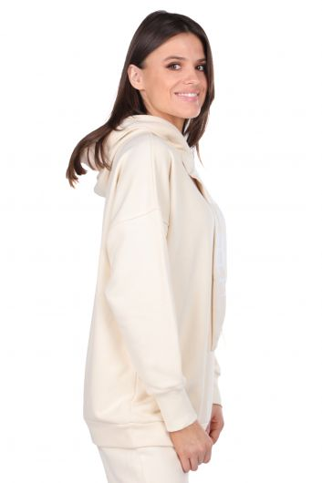 MARKAPIA WOMAN - Basic Ecru With Hooded Women's Sweatshirt (1)