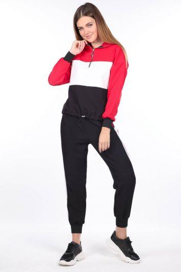 Женский резиновый спортивный костюм с капюшоном - Thumbnail