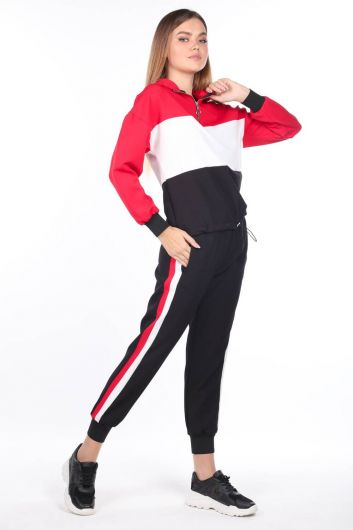 Women's Hooded Rubber Piece Tracksuit Set - Thumbnail