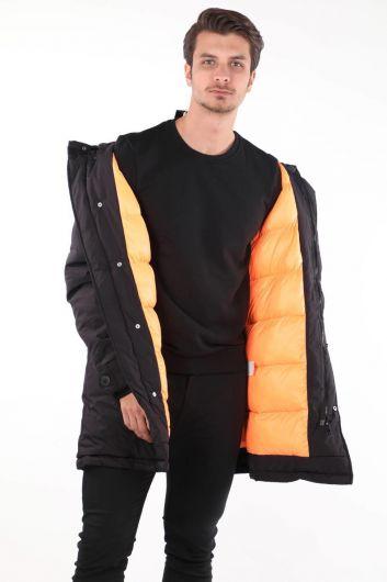 Мужское пуховое пальто с капюшоном - Thumbnail