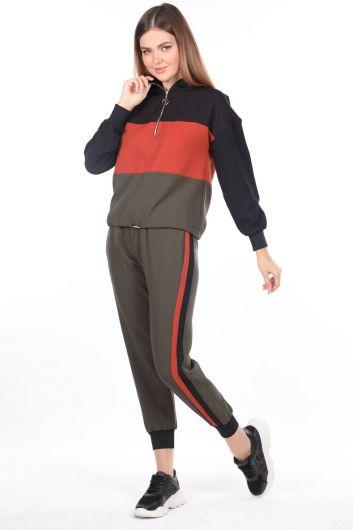 Женский спортивный костюм цвета хаки с резиновым капюшоном - Thumbnail