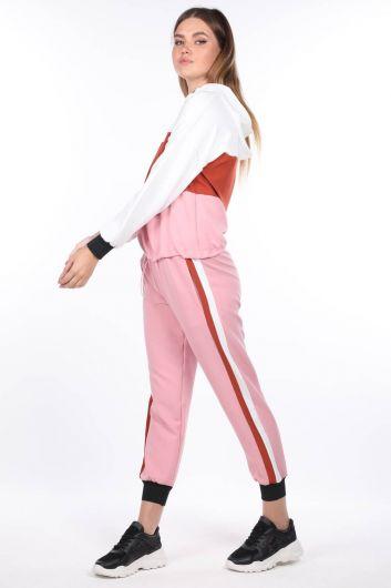 Elastic Hooded Pink Women's Tracksuit Set - Thumbnail