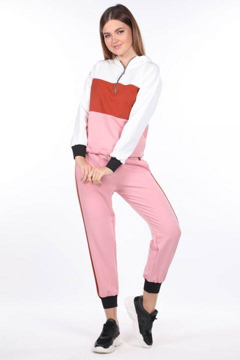 Elastic Hooded Pink Women's Tracksuit Set