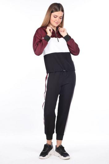 Эластичный черный женский спортивный костюм с капюшоном - Thumbnail