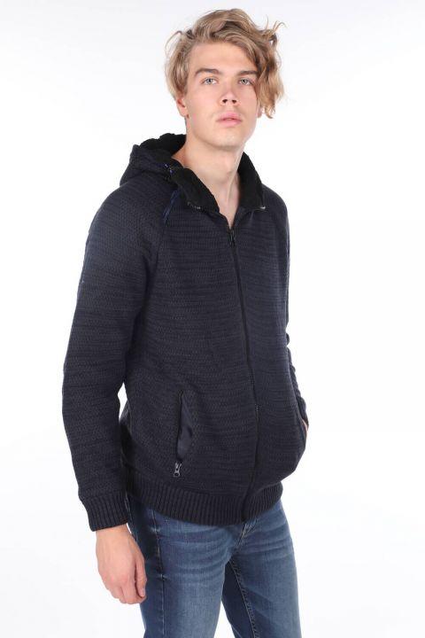 Hooded Lined Knitwear Coat