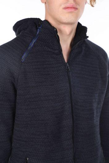 Hooded Lined Knitwear Coat - Thumbnail