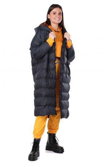 معطف طويل كبير الحجم للنساء مع غطاء للرأس - Thumbnail