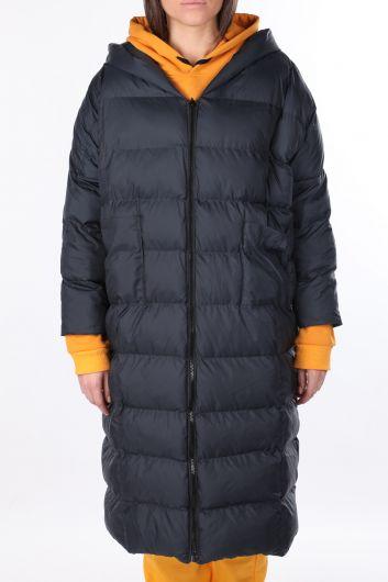 Long Oversized Women's Down Coat With Hood - Thumbnail