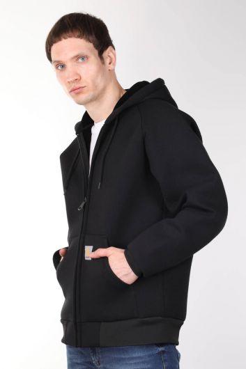 MARKAPIA MAN - جاكيت أسود كبير الحجم بغطاء للرأس (1)
