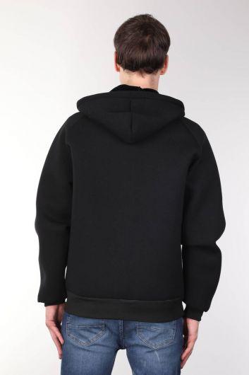 جاكيت أسود كبير الحجم بغطاء للرأس - Thumbnail