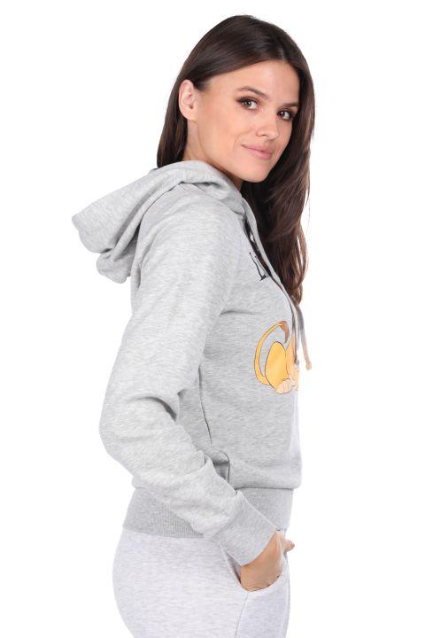 Printed Gray Women's Sweatshirt with Hood