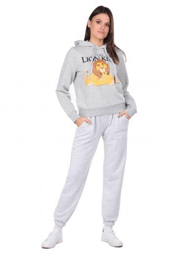Printed Gray Women's Sweatshirt with Hood - Thumbnail