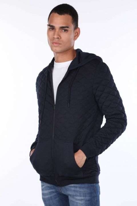 Hooded Quilted Men's Cardigan