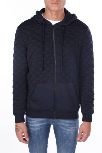 Hooded Quilted Men's Cardigan - Thumbnail