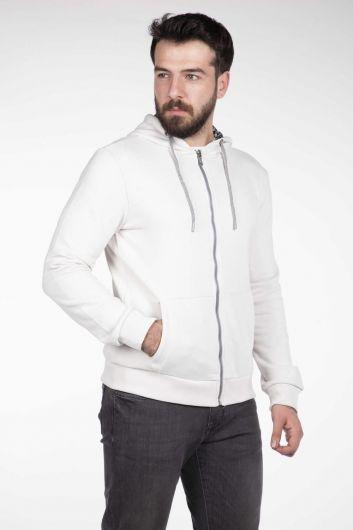 Men's Hooded Zipper Cardigan - Thumbnail