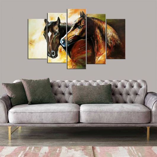 5 Piece Mdf Painting with Horse Figure - Thumbnail