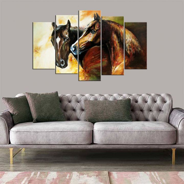 5 Piece Mdf Painting with Horse Figure