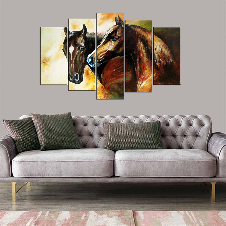 Картина из 5 частей Mdf с фигуркой лошади