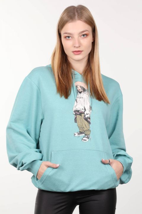 Ice Green Printed Oversized Hooded Women's Sweatshirt