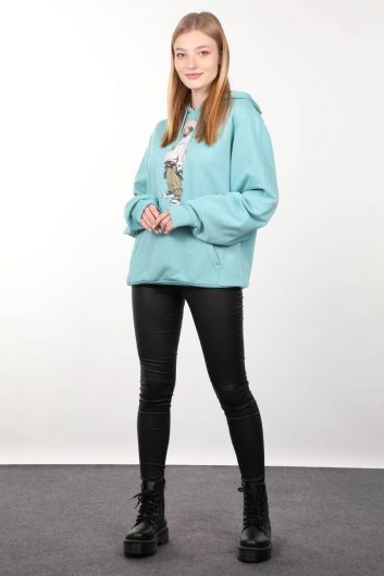 Ice Green Printed Oversized Hooded Women's Sweatshirt - Thumbnail