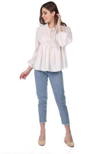 Gathered Blouse-Cream-Beige - Thumbnail