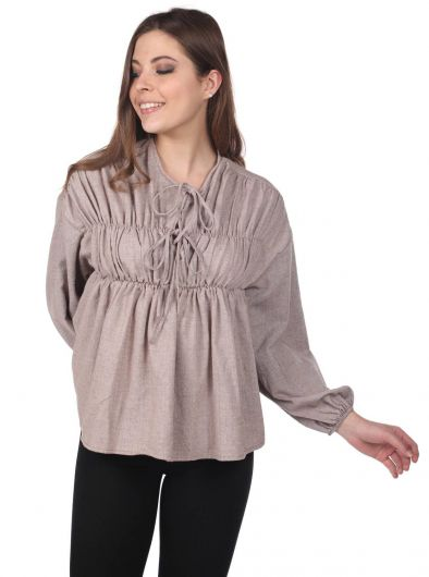 MARKAPIA WOMAN - Gathered Blouse-Cream-Beige (1)