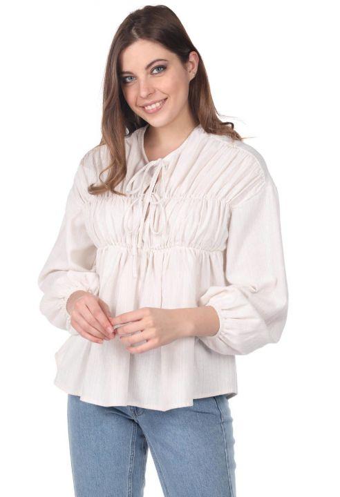 Блуза Присборенная-Кремово-Бежевая
