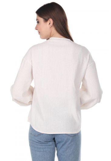 Блуза Присборенная-Кремово-Бежевая - Thumbnail
