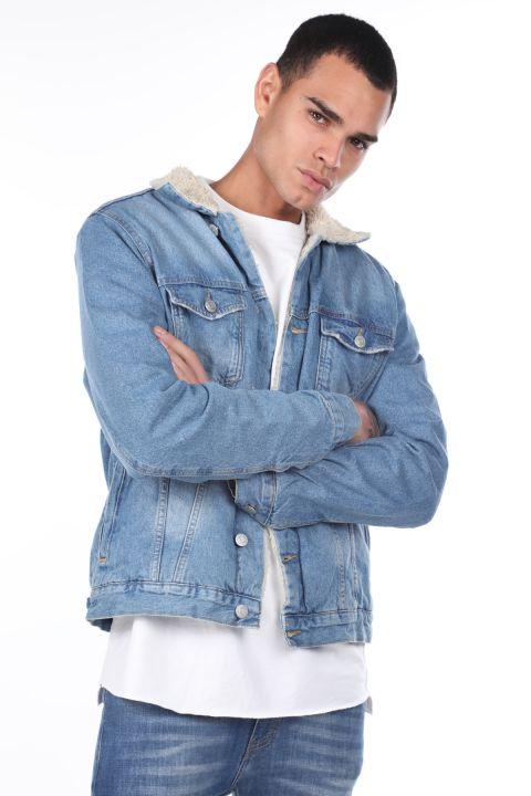 İçi Kürklü Erkek Jean Ceket