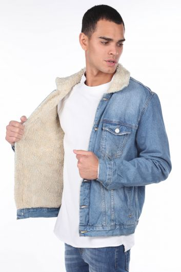 MARKAPIA MAN - Men's Jean Jacket With Fur Inside (1)