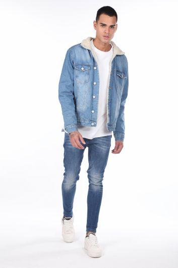 Куртка мужская джинсовая с мехом внутри - Thumbnail