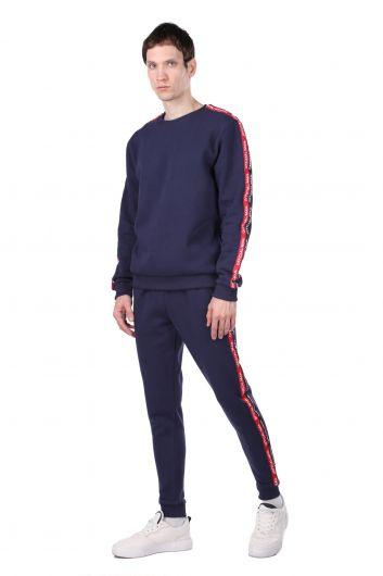 MARKAPIA MAN - Мужской спортивный костюм с внутренним флисом и полосой по бокам (1)