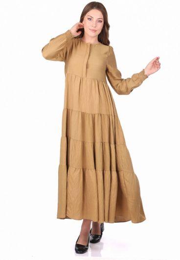 Длинное прямое платье со сборками - Thumbnail