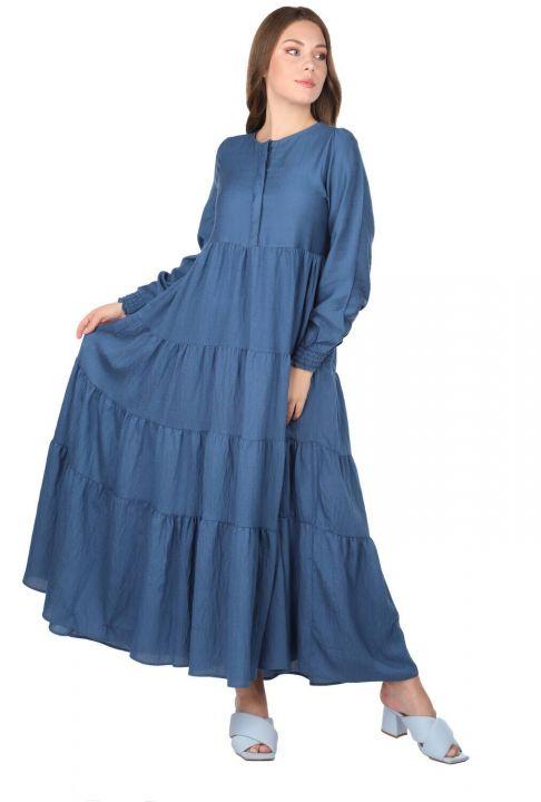 Gathered Long Straight Dress
